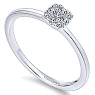 14k White Gold Silk Classic Ladies' Ring