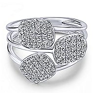 14k White Gold Silk Fashion Ladies' Ring angle 1