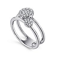 14k White Gold Silk Fashion Ladies' Ring angle 3