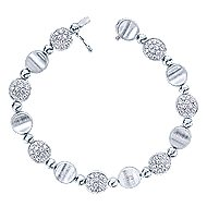 14k White Gold Silk Tennis Bracelet angle 1