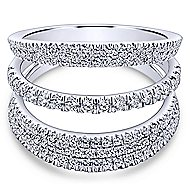 14k White Gold Silk Wide Band Ladies' Ring angle 1