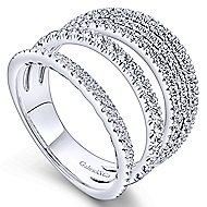 14k White Gold Silk Wide Band Ladies' Ring angle 3