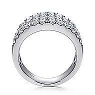 14k White Gold Silk Wide Band Ladies' Ring angle 2