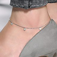 14k White Gold Souviens Chain Ankle Bracelet angle 3