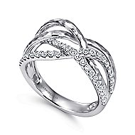 14k White Gold Souviens Wide Band Ladies' Ring angle 3