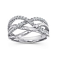 14k White Gold Souviens Wide Band Ladies' Ring angle 4