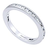 14k White Gold Stackable Anniversary Band angle 3