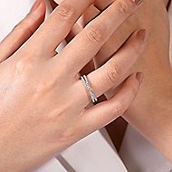 14k White Gold Stackable Dual Band Ladies Ring