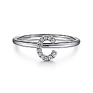 14k White Gold Stackable Initial Ladies' Ring angle 1