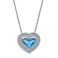 14k White Gold Swiss Blue Topaz & Diamond Heart Necklace