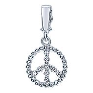 14k White Gold Trends Charm Pendant angle 1