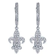 14k White Gold Trends Drop Earrings angle 1