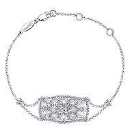 14k White Gold Victorian Chain Bracelet angle 1