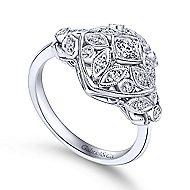 14k White Gold Victorian Classic Ladies' Ring angle 3