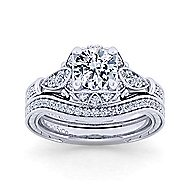 14k White Gold Victorian Curved Wedding Band angle 4