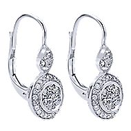 14k White Gold Victorian Drop Earrings angle 2
