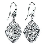 14k White Gold Victorian Drop Earrings