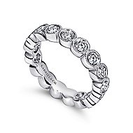 14k White Gold Victorian Eternity Band Anniversary Band angle 3