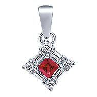 14k White Gold Victorian Fashion Pendant angle 1