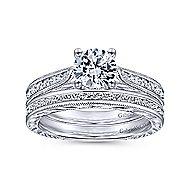 14k White Gold Victorian Straight Wedding Band angle 4