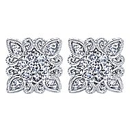 14k White Gold Victorian Stud Earrings