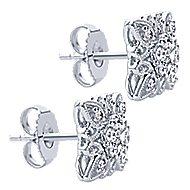 14k White Gold Victorian Stud Earrings angle 2