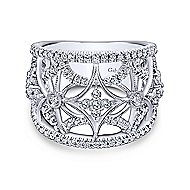 14k White Gold Victorian Wide Band Ladies' Ring angle 1