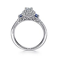 14k White Gold Vintage Inspired Round 3 Stones Sapphire Halo Engagement Ring