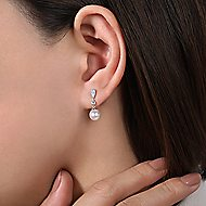 14k White Gold Vintage Style Diamond Pearl Drop Earrings