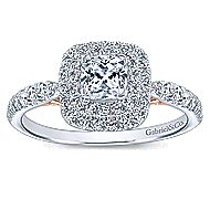 14k White/Rose Gold Cushion Cut Double Halo Engagement Ring
