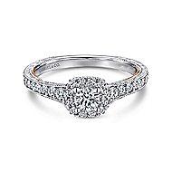 14k White/Rose Gold Round Halo Engagement Ring