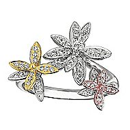 14k Yellow And White And Rose Gold Floral Fashion Ladies' Ring angle 1