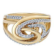 14k Yellow And White Gold Contemporary Fashion Ladies' Ring angle 1