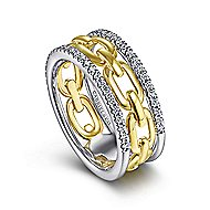 14k Yellow And White Gold Contemporary Fashion Ladies' Ring