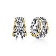 14k Yellow And White Gold Contemporary Huggie Earrings
