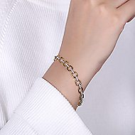 14k Yellow And White Gold Contemporary Tennis Bracelet