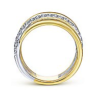14k Yellow And White Gold Contemporary Wide Band Ladies' Ring