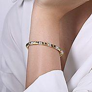 14k Yellow And White Gold Demure Bangle