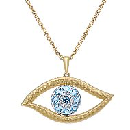 14k Yellow And White Gold Faith Evil Eye Necklace angle 1