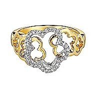 14k Yellow And White Gold Floral Fashion Ladies' Ring angle 1