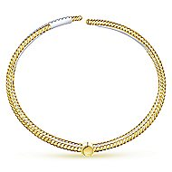 14k Yellow And White Gold Hampton Bangle angle 3
