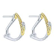 14k Yellow And White Gold Hampton Fashion Earrings angle 2