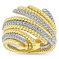 14k Yellow And White Gold Hampton Fashion Ladies' Ring angle 4