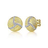 14k Yellow And White Gold Hampton Stud Earrings