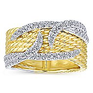 14k Yellow And White Gold Hampton Twisted Ladies' Ring angle 4