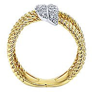 14k Yellow And White Gold Hampton Twisted Ladies' Ring angle 2