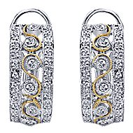 14k Yellow And White Gold Hoops Fashion Earrings angle 1