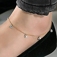 14k Yellow And White Gold Lusso Chain Ankle Bracelet