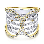 14k Yellow And White Gold Lusso Diamond Wide Band Ladies' Ring angle 1