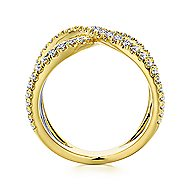 14k Yellow And White Gold Lusso Diamond Wide Band Ladies' Ring angle 2